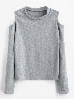 Ribbed Cold Shoulder Top - Gray Cloud