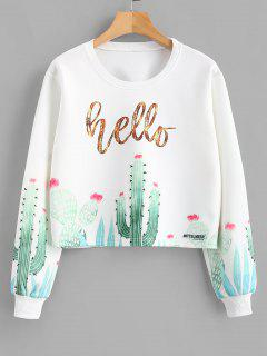 Cactus Print Cropped Pullover Sweatshirt - White S