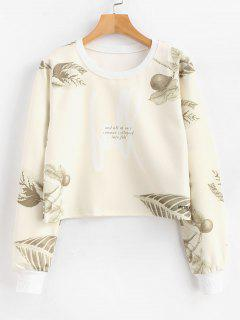 Garden Leaf Print Pullover Cropped Sweatshirt - Beige S
