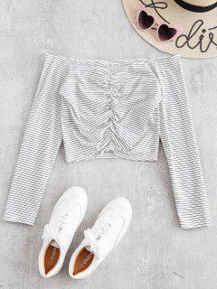 Schulterfrei Gerafftes Gestreiftes T-Shirt - Weiß S