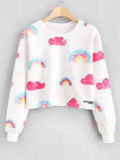 Rainbow Print Graphic Cropped Sweatshirt - White L