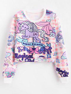 Unicorn Printed Cropped Pullover Sweatshirt - Multi L
