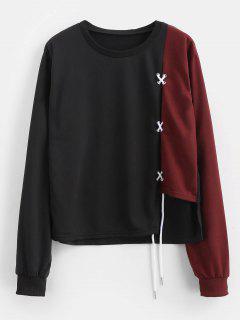 Schnüren Sie Sich Oben Ausgeschnittenes Sweatshirt - Schwarz M