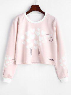 Heart Print Graphic Cropped Sweatshirt - Light Pink M