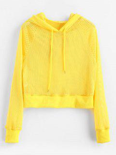 Mesh Cropped Hoodie - Yellow M