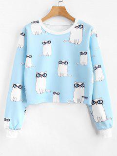 Allover Kitten Print Cropped Sweatshirt - Light Sky Blue L