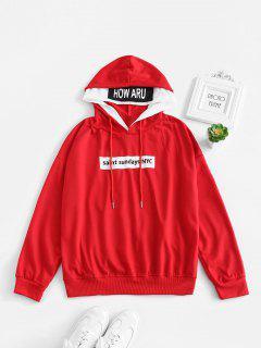 Sudadera Con Capucha Y Gráfico Con Cordón Ajustable En El Hombro - Rojo Lava S