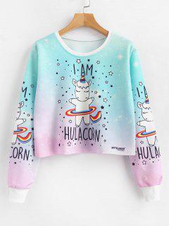 Star Cartoon Print Pullover Cropped Sweatshirt - Multi L