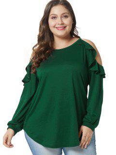 Camiseta De Túnica Con Volantes Y Tamaño Del Hombro Frío - Verde Oscuro 4x