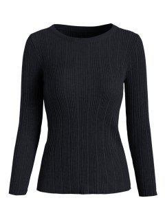 Ribbed Knit Basic Sweater - Black