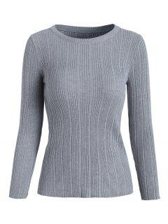 Ribbed Knit Basic Sweater - Light Gray