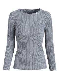 Suéter De Punto Acanalado - Gris Claro