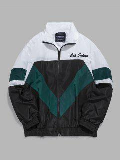 Colorblock Embroidered Letter Windbreaker Jacket - Black L