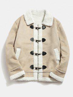 Faux Shearling Appliques Toggle Jacket - Khaki M