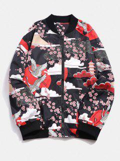 Veste Légère Fleur Grue Japonaise Imprimées - Rouge M