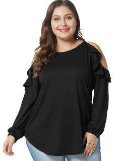 Camiseta De Túnica Con Volantes Y Tamaño Del Hombro Frío - Negro 2x