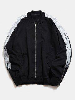 Side Letter Zipper Bomber Jacket - Black L
