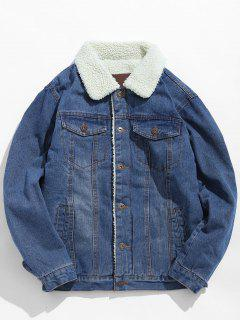 Fluffy Lined Thick Denim Jacket - Light Blue M