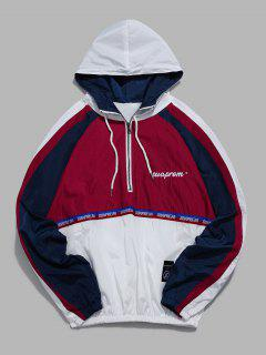 Colorblock Half Zip Patchwork Windbreaker Hoodie - White Xl
