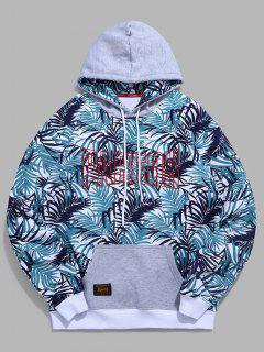 Tropical Leaves Letter Contrast Fleece Hoodie - Blue Koi L