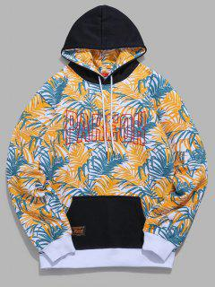 Tropical Leaves Letter Contrast Fleece Hoodie - Yellow L