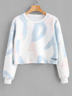 Random Letter Graphic Cropped Sweatshirt - Light Blue M