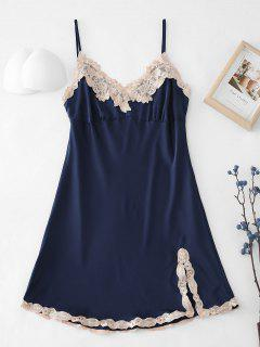 Embroidered Trim Satin Pajamas Dress - Midnight Blue L