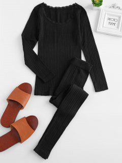 Lace Insert Thermal Top And Pants Set - Black