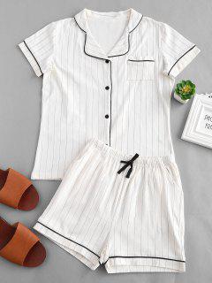 Striped Button Up Short Sleeve Pajama Set - White