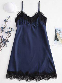 Satin Lace Eyelash Trim Cami Sleep Dress - Navy Blue M