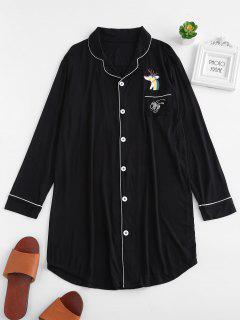 Robe Chemise Pyjama Cerf Imprimé Avec Poche - Noir L