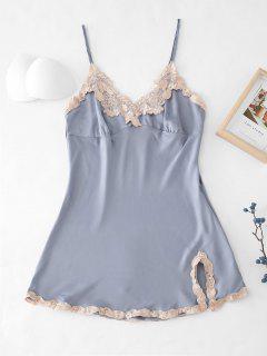 Embroidered Trim Satin Pajamas Dress - Blue Gray M