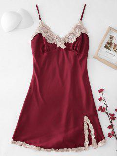 Robe De Pyjama à Ourlet Brodée En Satin - Rouge Vineux M