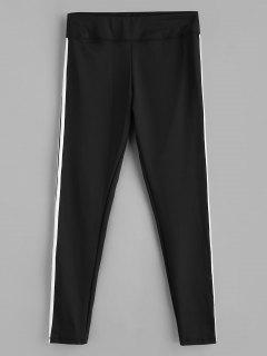 Side Striped Ponte Pants - Black M