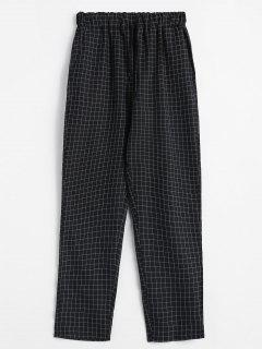 Checked High Waisted Tapered Pants - Black L