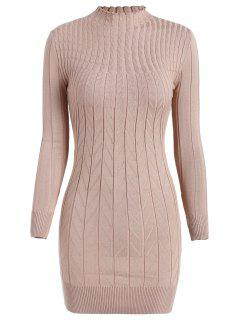 Cable Knit Longline Funnel Sweater - Apricot