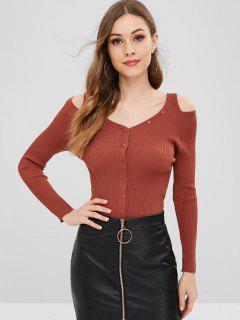 Pullover Mit V-Ausschnitt Und Geripptem Ausschnitt - Mahoganifarbe