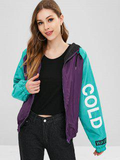 Hooded Color Block Graphic Windbreaker Jacket - Multi L