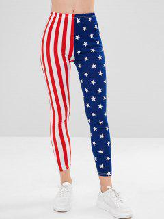Color Block American Flag Print Leggings - Multi