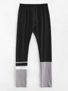 Color Block Paneled Leggings - Black