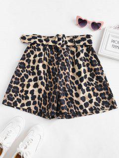 Leopard Belted Wide Leg Shorts - Leopard M