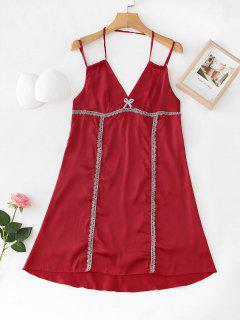 Satin Lace Trim Slip Night Dress - Ruby Red M