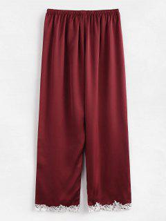 Satin Embroidered Hem Pajamas Pants - Red Wine M