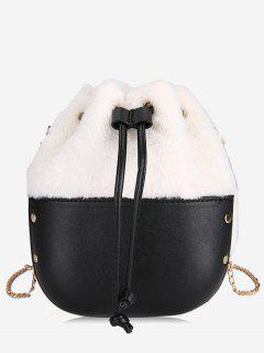 Fluffy Design String Crossbody Bag - White