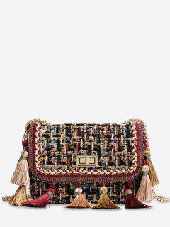 Ethnic Plaid Tassel Design Crossbody Bag - Multi-a