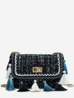 Ethnic Plaid Tassel Design Crossbody Bag - Multi-b