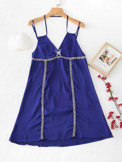 Satin Lace Trim Slip Night Dress - Denim Dark Blue M