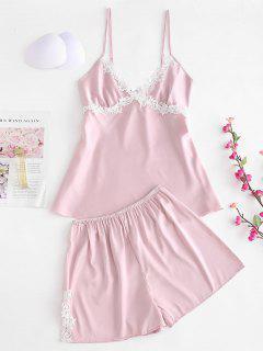 Conjunto De Top Y Pantalones Cortos De Pijama De Satén - Rosa M