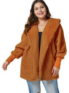 Plus Size Fluffy Hooded Tunic Coat - Light Brown 3x