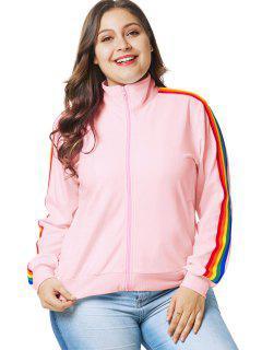 Regenbogenbesatz Plus Size Zip Jacket - Pink 4x